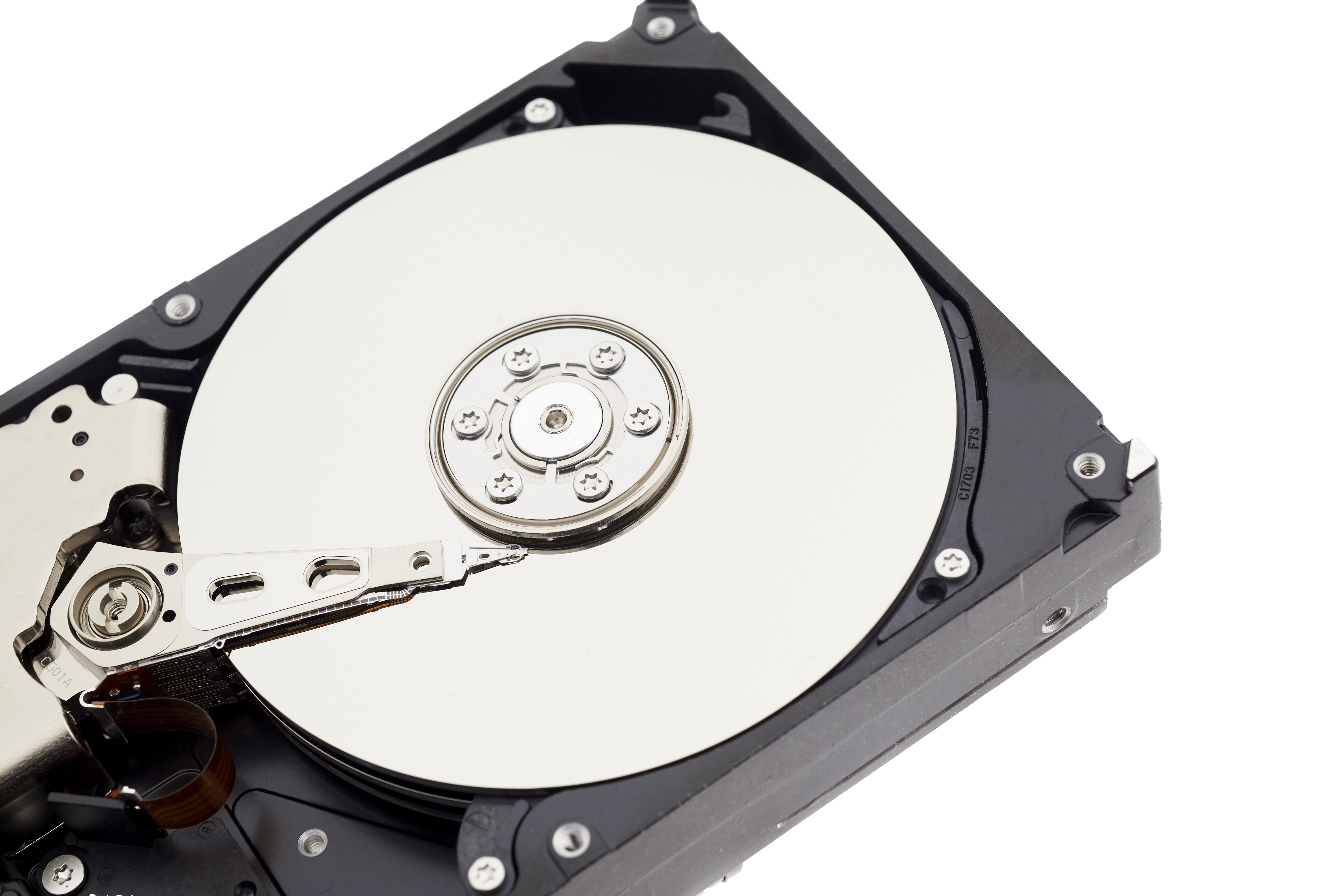 Open hard drive with platter visible