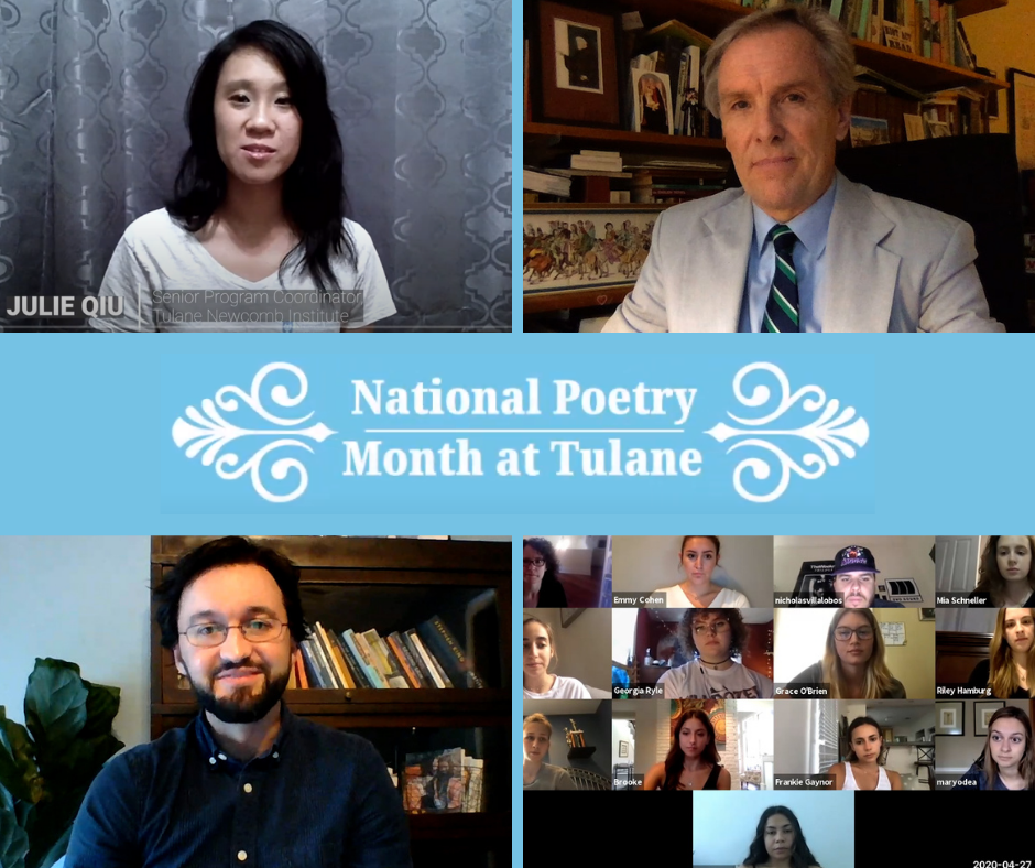 TUL National Poetry Month logo and screenshots of participants