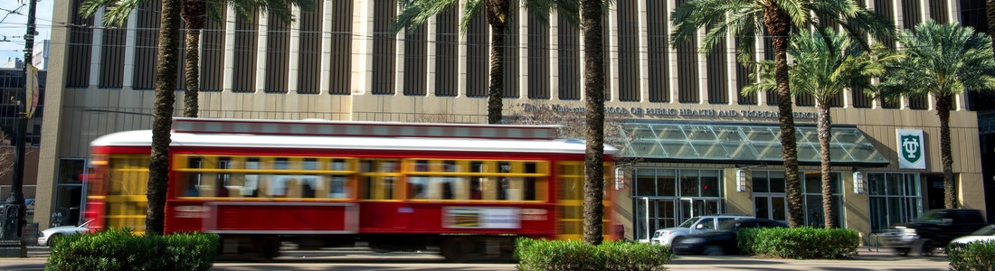 Street car on Canal Street in front of Tulane Medical School