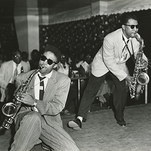 Robert Parker on the tenor saxophone and Lonnie Bolden on the alto saxophone jamming at the Tijuana Club. From the Ralston Crawford Collection.