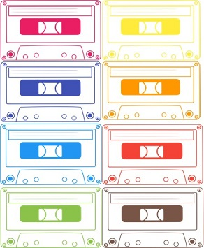 Two columns of line drawn cassette tapes loosely following the colar scheme of the inclusive rainbow flag.
