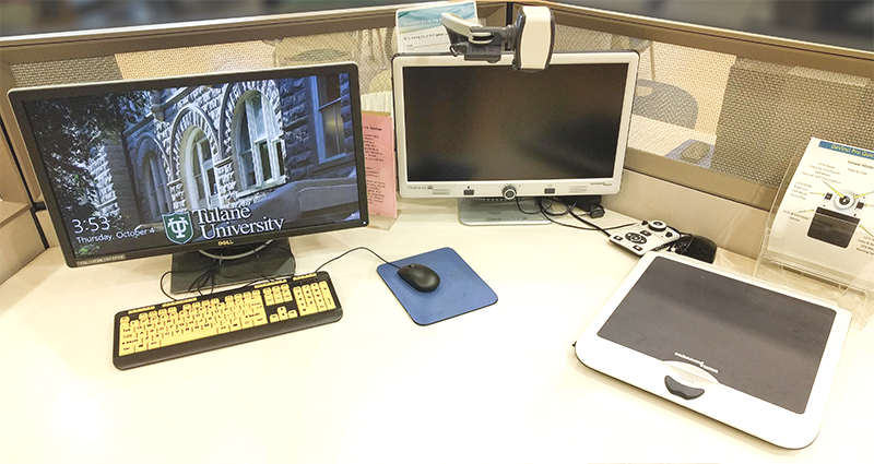 Accessibility workstation, including magnifier and high definition keyboard