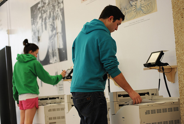 Students at the Learning Commons' printers