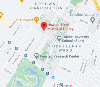 Map of Tulane and Howard-Tilton Memorial Library