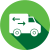 interlibrary loan icon of a truck with arrows